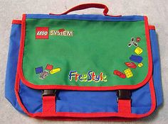 Lego System FreeStyle Messenger Bag Tote Red Blue Green Building Blocks