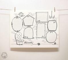 Remplissez les cadres avec vos notes. Et la couleur, si vous aimez :)  Voici un joli outil pour organiser vos tâches hebdomadaires: un planificateur hebdomadaire perpétuel dans un style fantaisiste doodle dessinés à la main. Tout simplement imprimer une copie pour une semaine sur votre imprimante à la maison et rendre vos notes.  Imprimable en une seule couleur - noire, sur une base imprimante noire et blanche. L'épingler sur votre bord doux, ou le coller sur votre frigo et utiliser le…