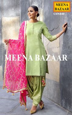 """Be the epitome of sophistication with this beautiful Green chanderi salwar suit. It is embellished with gota embroidery on cuffs and fancy bottoms on neckline with katha work. Comes with matching banarasi chanderi patiala and dupatta. Pakistani Dresses, Indian Dresses, Indian Outfits, Indian Attire, Indian Wear, Trajes Punjabi, Ethnic Fashion, Indian Fashion, Churidar"