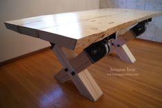 Slab Wood Table, seats ten (natural edge) #slabwood #reclaimed www.imagineiron.com