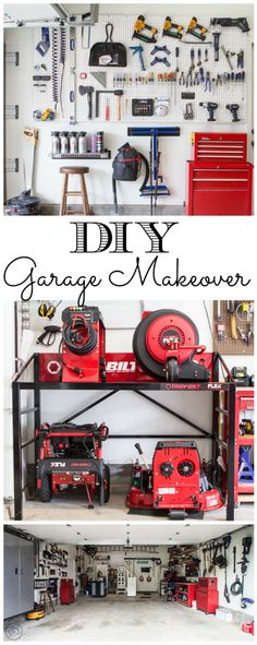 Make Dad's life easier! Get the whole family involved in a DIY garage makeover. The DIY Village shares tons of organization ideas.