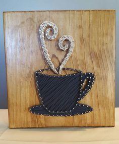 Coffee Cup String Art, Handmade! by Kristiestringart on Etsy #CoffeeArt