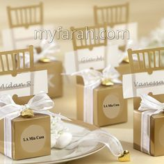 Send out your favors with cheap wedding favor boxes,gift box wedding and gift card box for wedding and you can have the best one-wedding candy boxes of miniature gold chair favor box with heart charm and ribbon from Wedding Candy Boxes, Gold Wedding Favors, Elegant Wedding Favors, Wedding Reception, Wedding Invitations, Wedding Ideas, Trendy Wedding, Wedding Table, Diy Wedding