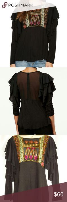 """Free People La Cienga Ruffled Top Small NWT Brand new gorgeous top. Across armpit to armpit is about 22"""", shoulder to hem is about 27"""", and sleeve length is about 24"""". Bundle and save on 2 or more items. Free People Tops"""