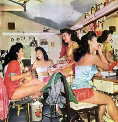Dancers backstage at Charlie Low's Forbidden City nightclub on 363 Sutter Street in San Francisco, California (1948). The Chinese-themed nig...