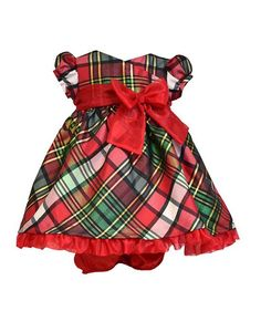 CLASSIC Holiday Bonnie Jean Red Green Plaid Crossover Tafetta Dress Girls (sz 0-4T) ~Color Me Happy Boutique #Christmas
