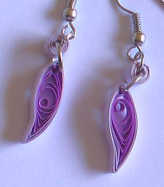 purple quilled earrings by Craftcove