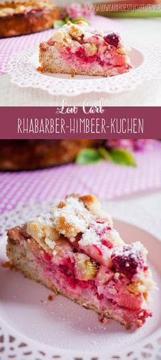 Kuchengenuss ohne schlechtes gewissen: saftig süßer Rhabarber-Himbeer-Kuchen mit Macadamia-Streuseln #lowcarb #glutenfrei #zuckerfrei www.lowcarbkoestlichkeiten.de