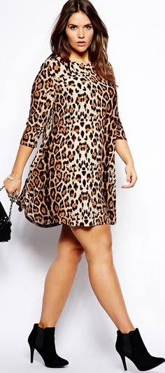 plus size leopard print shirt dress love! #UNIQUE_WOMENS_FASHION