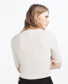 Image 4 of RIBBED T-SHIRT from Zara