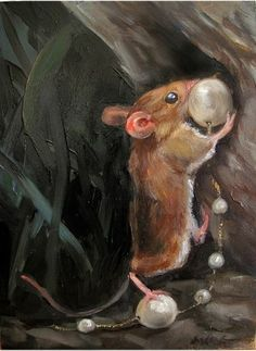 'Mouse Hiding Treasures'  Oil on Panel by Margot King