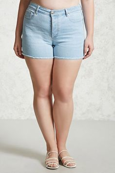 Forever 21+ - A pair of denim shorts featuring a faded wash, five-pocket construction, frayed hem, and button fly.