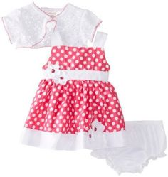 d0fbff07f4d7 Amazon.com: Youngland Baby-Girls Newborn Dot Shrug Dress, Pink/White, 0-3  Months: Clothing