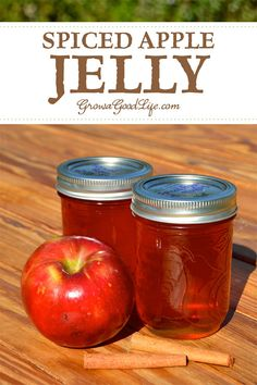 This spiced apple jelly recipe livens up the plain apple flavor with some traditional pairings including lemon juice, cinnamon, nutmeg and cloves. Jelly Recipes, Jam Recipes, Canning Recipes, Apple Recipes, Canning 101, Pressure Canning, Cooker Recipes, Drink Recipes, Sweets