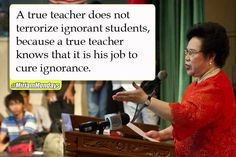 True for any type of educator Miriam Defensor Santiago, Jokes Quotes, Funny Quotes, Deployment Countdown, Wow Words, Teacher Memes, Embedded Image Permalink, Leadership, The Cure