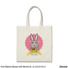 Cute Hipster Bunny with Glasses Book/Tote Bag