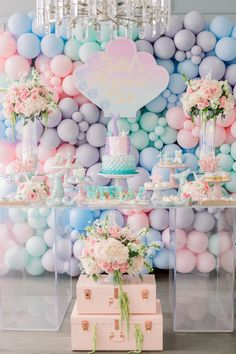 Mermaid Kisses Starfish Wishes Party – Pretty My Party – Party Ideas This Mermaid Kisses Starfish Wishes Birthday Party features a beautiful pastel dessert table with mermaid birthday cake, desserts, decorations and more. Mermaid Birthday Cakes, Little Mermaid Birthday, Mermaid Party Decorations, Balloon Decorations, Mermaid Parties, Tree Centerpieces, Pastell Party, Mermaid Balloons, Pastel Balloons