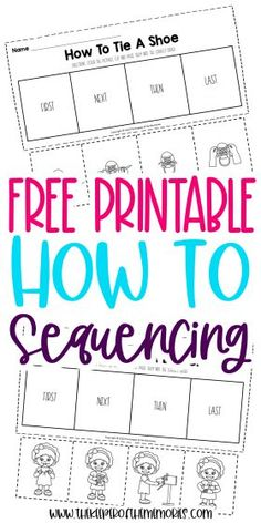 Encourage creative thinking, problem solving and reading comprehension skills with these cut and paste How To Sequence of Events Activities. Grab yours today! #preschool #kindergarten #sequencing #preschoolworksheets #kindergartenworksheets #sequencingworksheets Sensory Activities Toddlers, Kids Learning Activities, Kindergarten Learning, Kindergarten Worksheets, Preschool Printables, Free Printables, Printable Worksheets, Sequencing Worksheets, Craft Projects For Kids