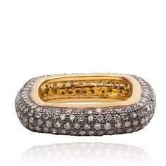 Diamond black rhodium square ring