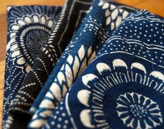 Antique Japanese aizome indigo dyed katazome by emmanoaccessories