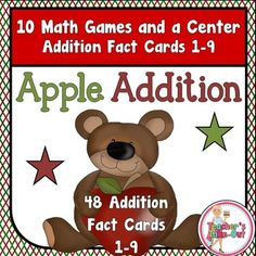 Apple Addition Games includes 48 Addition Fact Cards, 10 Addition Board Games to use with the cards, a Math Center to record addition sums, and a Fact Table to help struggling learners. $