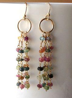 delicate muti-colored tourmaline tassel earrings by KKSparkles