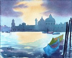 Aceo Watercolour Print Sunset Venice Gondolas Italy