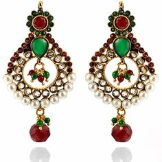 Juhi Earrings http://blossomboxjewelry.com/e1352.html #indian #jewelry #fashion #designer #bollywood #earrings #indianwedding #emerald #ruby #chandelier