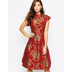 Chi Chi London High Neck Baroque Print Structured Skater Dress ($105) ❤ liked on Polyvore featuring dresses, redgold, skater dress, white skater dress, white cap sleeve dress, open back skater dress and zipper dress