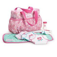 American Girl Bitty Baby Diaper Bag Set New! Muñeca Baby Alive, Baby Alive Dolls, Baby Dolls, Girl Dolls, Big Sister Bag, Big Sister Gifts, American Girl Accessories, Baby Doll Accessories, Baby Doll Diaper Bag