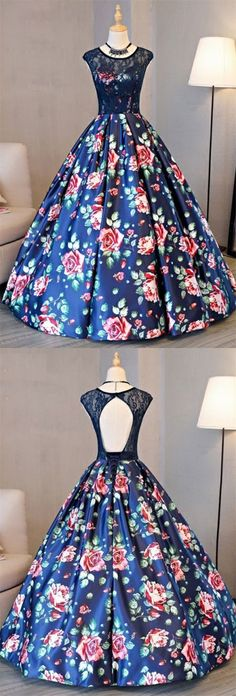 A-Line Crew Sweep Train Royal Blue Printed Satin Open Back Prom Dress with Lace M2206