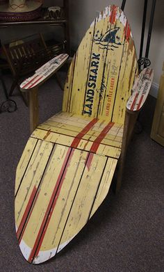 Coastal Decor - Land Shark Surfboad Beach Chair - this is awesome! Beach Cottage Style, Beach House Decor, Home Decor, Deco Surf, Adirondack Chairs, Adirondack Furniture, Beach Chairs, Beach Cottages, My New Room