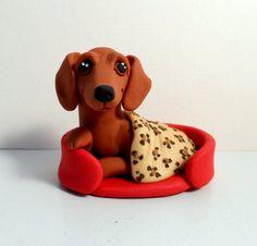 Sassy Dachshund polymer clay Doxie sculpture by Raquel by theWRC