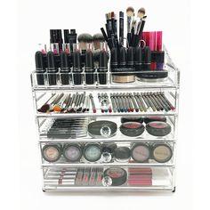 Cosmetic Makeup Organizer BIG SCARLETT Y Around The Home - Cosmetic makeup organizer wood countertop organizer by lessandmore