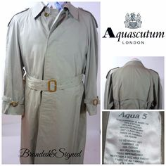Aquascutum Mens Trench 38 short Aqua 5 Water Stain Repellent Belt Made in Canada Weather Wear, Cold Weather, Mens Leisure Wear, Aquascutum, Trench Coat Men, Cowgirl Bling, Water Stains, Raincoat, Canada