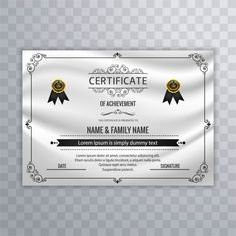 Certificate Design Template, Certificate Of Achievement, Borders For Paper, Lorem Ipsum, Allah, Vector Free, Printing, Graphic Design, Templates