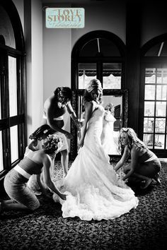 the bride -  bridesmaids-  getting ready