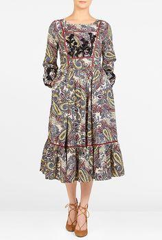I <3 this Beaded paisley print crepe dress from eShakti