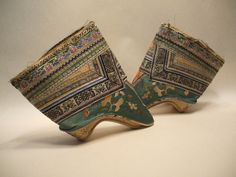 "CHINESE ""LOTUS FEET"" BOUND SHOES SLIPPERS 19C EMBROIDERED SILK  #Chinese"