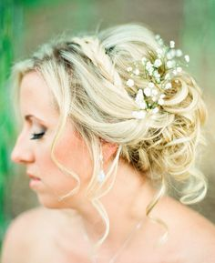 Romantic outdoor wedding-Lindsay Madden Photography- wedding day hair updo with baby's breath.