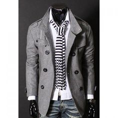 Stylish Stand Collar Double Breasted Long Sleeves Woolen Windbreaker For Men