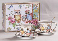 Tee-/Kaffeetassen Set mit Eulenmotiv in Geschenkbox 6teilig Tea Cups, Tableware, Design, Atelier, Coffee Cup Set, China China, Paper Board, Packaging, Weihnachten