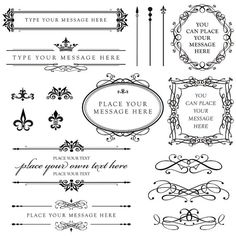 Digital flourish clipart calligraphy frame vintage for Decoration or embellishment crossword