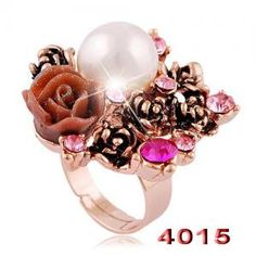 women bridal jewelry sets:fashion flower rings with pearls