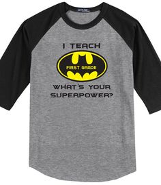 Your more then just a teacher, your are a real life Super Hero. This cute glitter shirt is the perfect shirt for our superhero teachers. About the Shirt - - Unisex cut - - 3/4 raglan sleeves - - 5.1-o