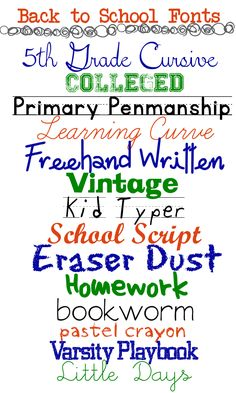 Back to School Fonts for Your Printables & Graphics A Grande Life - Fonts - Ideas of Fonts - 14 Free Fonts for Back to School