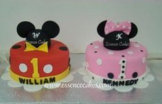 Mickey and Minnie cakes- LOvE this for a first birthday for twins I know:)