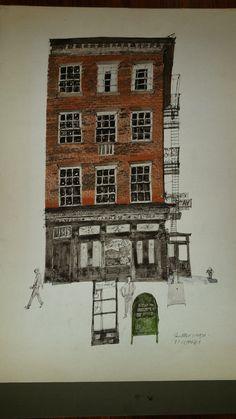 P.J. Clarke - Paul Hogarth Walton Ford, Illustration Art, Retro Illustrations, Urban Sketchers, Sketchbook Inspiration, Ink Pen Drawings, City Art, Illustrators, Sketches