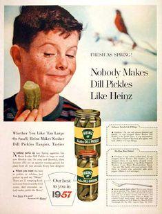 Retro 1957 Heinz Kosher dill pickle ad.