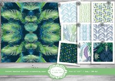 Scrapbook Digital Paper, Tropical Leaves Pattern, Tropical Rain Forest, Green and Blue Scrapbooking Paper Set of 10, Instant Download